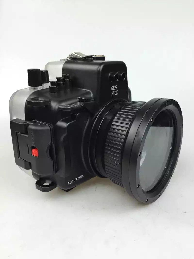 40M / 135FT Waterproof Underwater Housing Hard Case for Canon 750D Camera meikon 40m wp dc44 waterproof underwater housing case 40m 130ft for canon g1x camera 18 as wp dc44