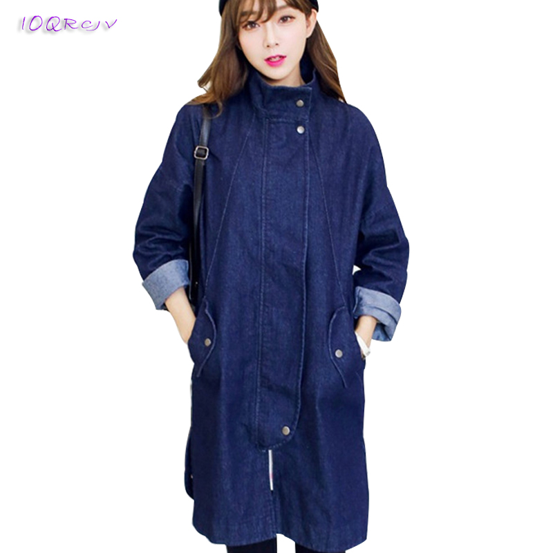 2018 spring autumn coat women fashion Windbreaker Casual Denim female   trench   coat elegant slim long coats tops IOQRCJV T164