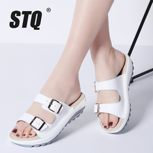STQ 2020 여름 여성 플랫 샌들 신발 슬리퍼 슬립 온 편안한 슬라이드 샌들 플립 플롭 여성 Flipflops 신발 921