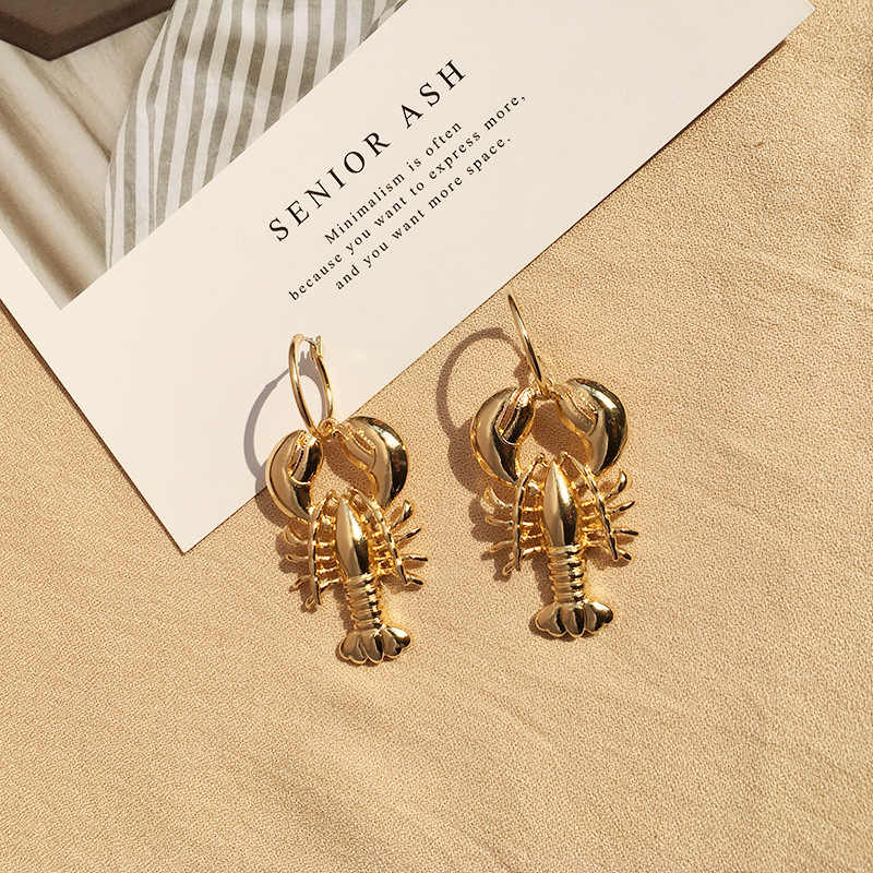 Boho  Cute Ocean Beach Sea Lobster  Earrings Vintage Drop Earrings for Women Statement Jewelry Gift Brincos