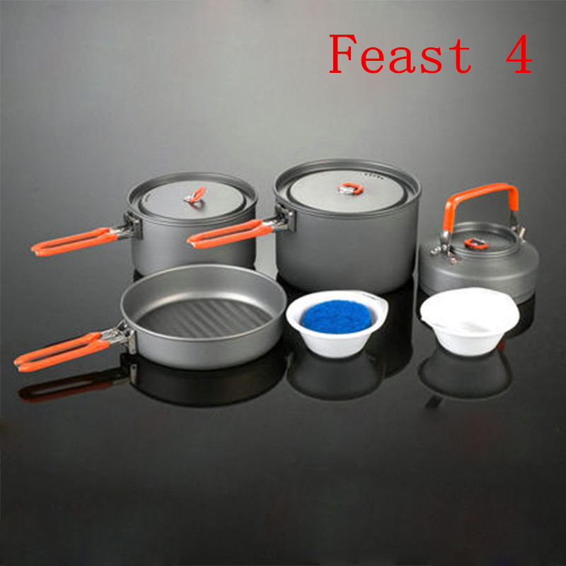 Fire Maple Feast 4 Camping Pot Set 1014g 4-5 Person Portable Cutlery Outdoor Picnic Cooking Cookware Hard Aluminum Free Shipping genius hs 300a