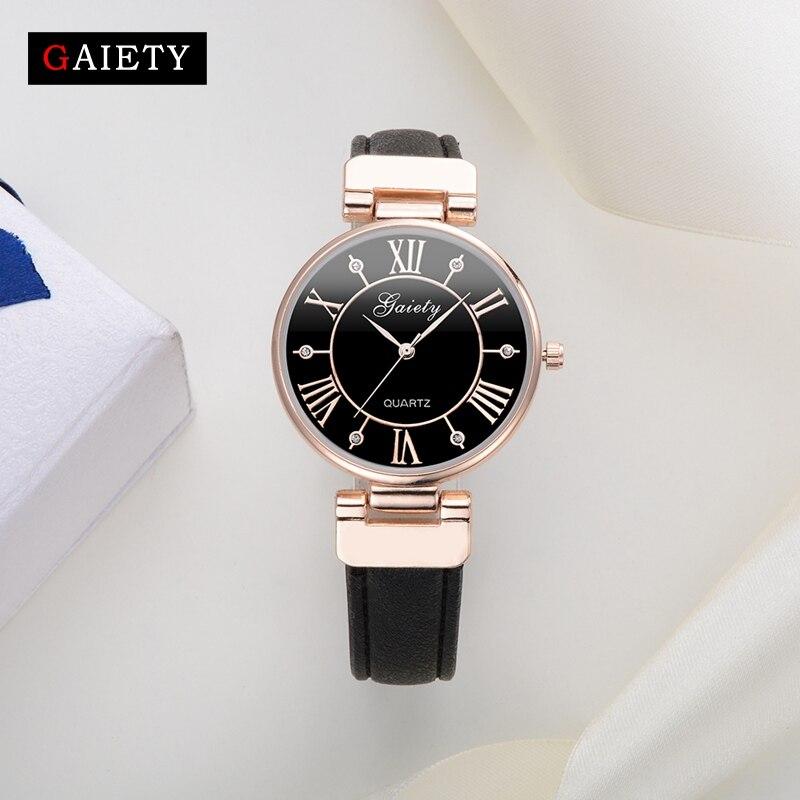 Gaiety Women Brand Watch Fashion Simple Rose Dress Sport Watch Quartz Clock Ladies Outdoor Casual Leather Strap Vintage Watches