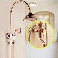 Высокая конец Ванная комната смеситель для душа кран розового золота с 8 латунь Насадки для душа и Керамика ручной душ