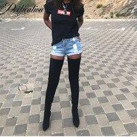 Апофеозом Bota Feminina пикантные женские замшевые сапоги Дизайнерская обувь растягивающиеся ботфорты, высокие сапоги до бедра остроносые туфли