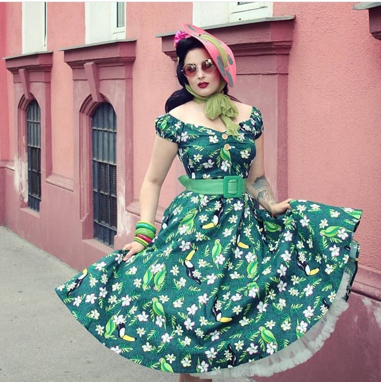 f10605f40e93d 30- summer women vintage 50s tropical bird print dolores swing dress in  green plus size