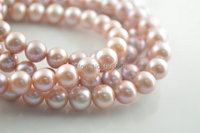 High quality 9~10mm Natural Fresh Water Pink Purple Pearl Round Beads