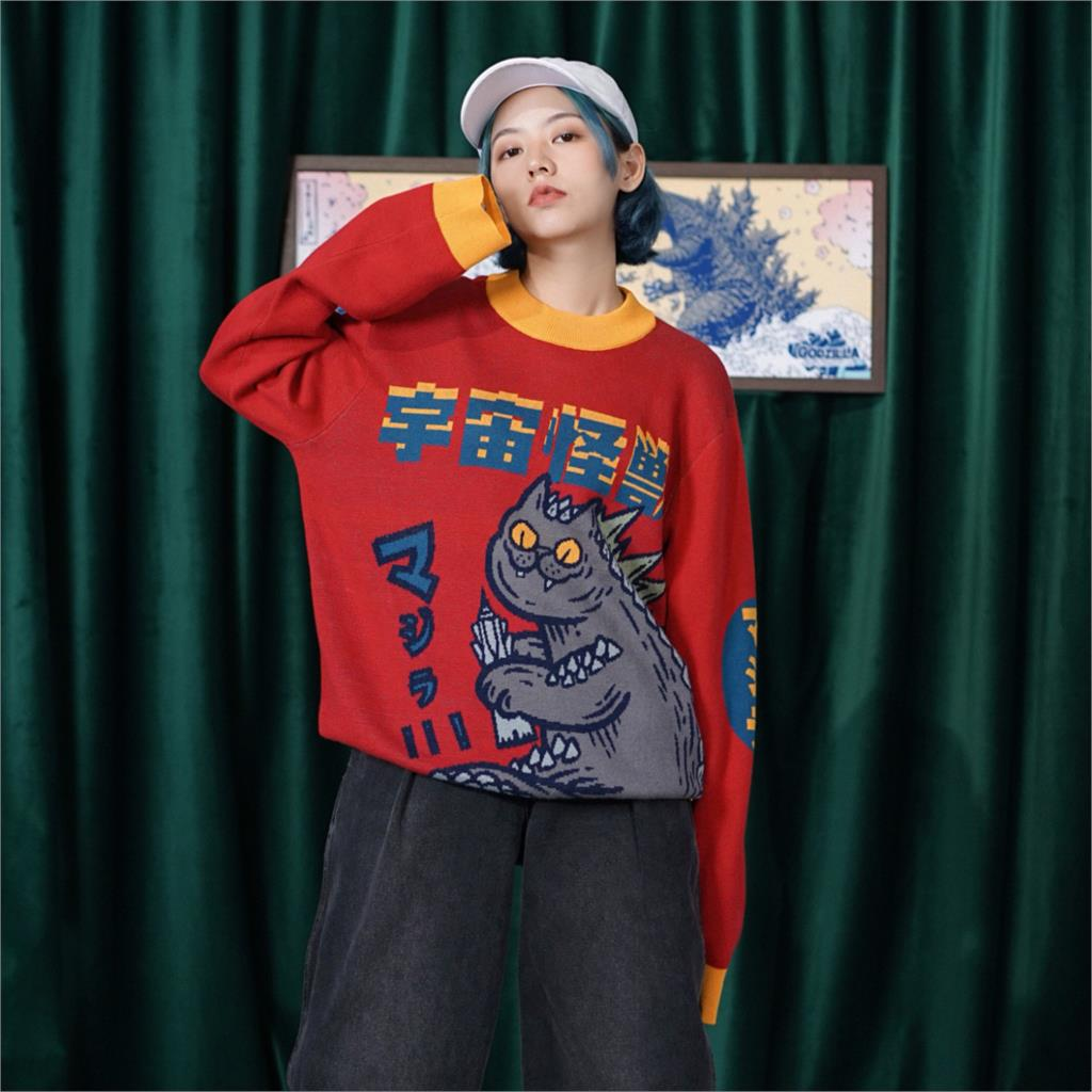 Bebobsons oryginalny Design zima panie gruby, ciepły sweter potwór luźny sweter z dzianiny Jumper topy dla mężczyzn kobiet czerwony dzianiny w Pulowery od Odzież damska na  Grupa 1