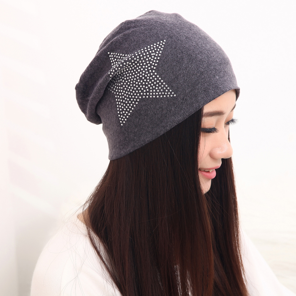 Women's Star Skull Knit Baggy Slouchy Beanie Hat Warm Winter Hats Head Cap 2017 New Fashion Spring Autumn Winter Beanie Hot hot winter beanie knit crochet ski hat plicate baggy oversized slouch unisex cap