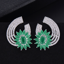 SisCathy 2019 New Hot Fashion Jewelry Clear Cubic Zirconia Bridal Wedding Fantastic Stud Earrings Accessories