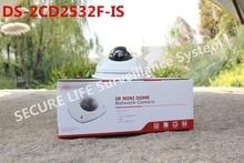 En stock versión inglés ds-2cd2532f-es 3mp mini domo cámara de red IP poe, 10 m ir, de dos vías de audio micrófono incorporado de cctv cámara de la alarma