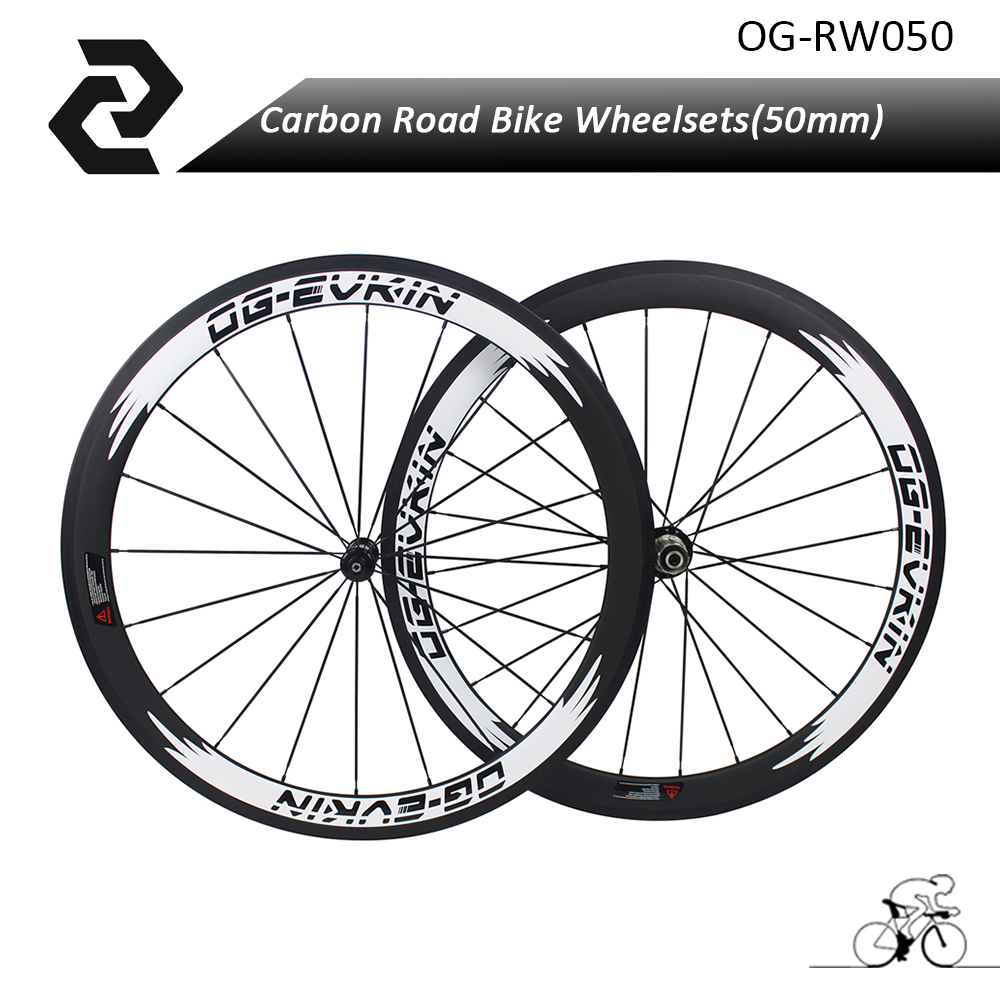 2018 700C Carbon road rims Wheels Bicycle bisiklet 50mm Depth Clincher flat Aero wheelset Powerway R13 R36 OG-EVKIN carbon wheels tubular clincher powerway r13 hub wheels 38mm 50mm 60mm 88mm road carbon bicycle wheels cheapest sale