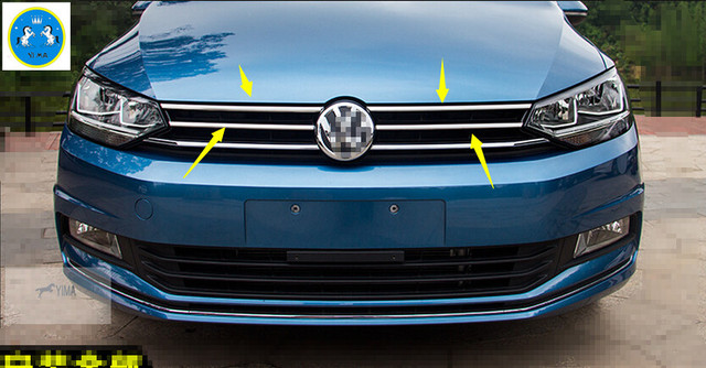 accessories for vw volkswagen touran 2016 2017 2018 stainless steel front grille grill cover. Black Bedroom Furniture Sets. Home Design Ideas