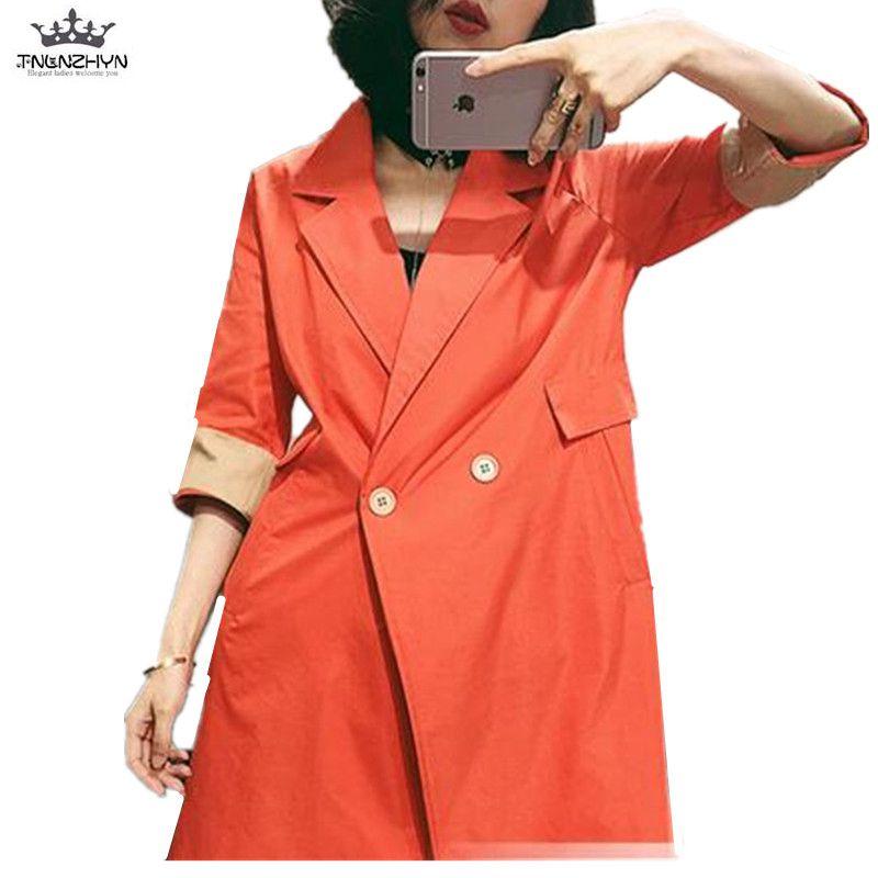 TNLNZHYN 2019 Spring Summer Women Trench Coat Loose Casual Half sleeve Windbreaker Coat Ladies Medium Long Trench Outerwear Y168