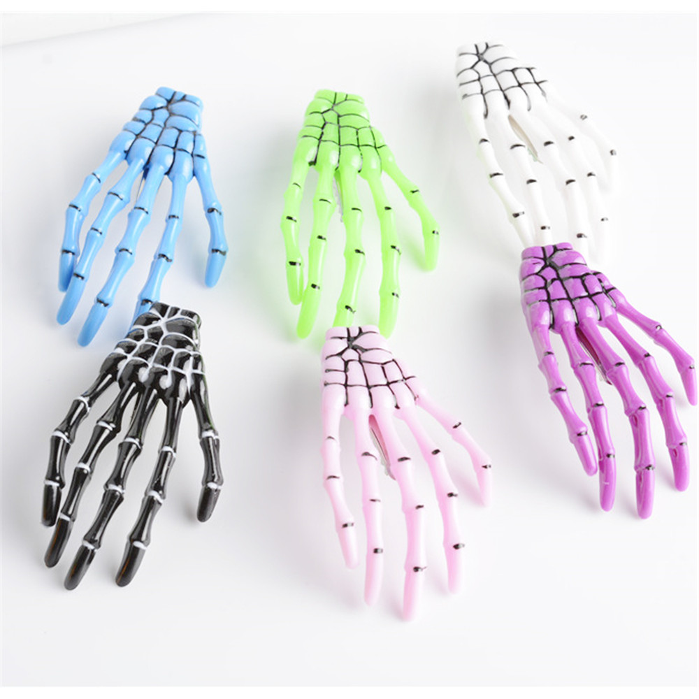 1pc Handmade Skeleton Claw Skull Hand Hair Clip Hairpin Zombie Punk Horror Bobby Pin Barrette Hair Accessories