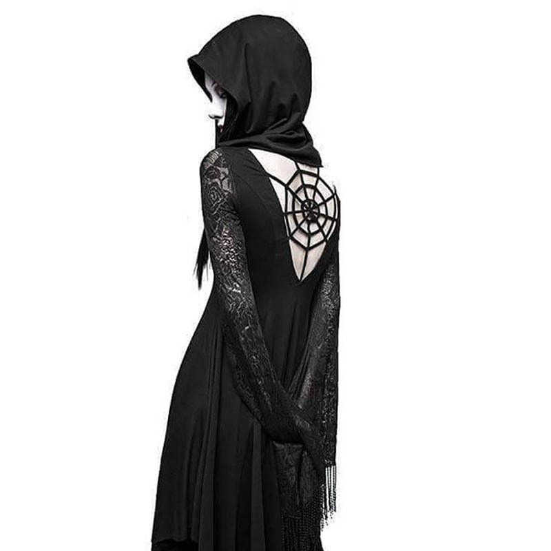 ImilyBela גותי הסווטשרט שמלה ארוך שרוול תחרת שחבור גבוה מותן שמלה שחור חלול החוצה ליל כל הקדושים סקסי המפלגה Vestidos 5xl