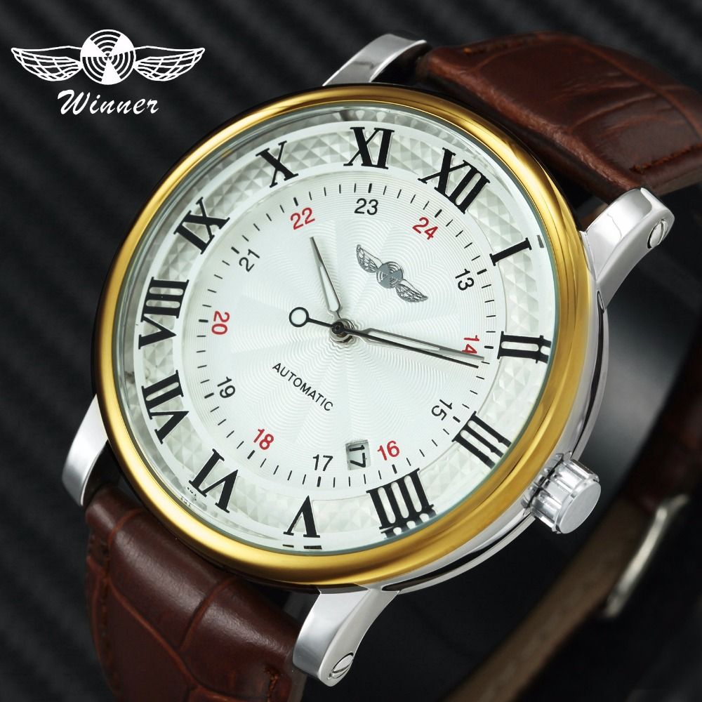 Casual Sports Watches WINNER Automatic Watch Mechanical Clock Men Brown Genuine Leather Strap Classic Business Wristwatch