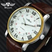 Повседневные спортивные часы WINNER механические часы с автоматически подзаводом часы для мужчин коричневый ремешок из натуральной кожи классические деловые наручные часы для мужчин s