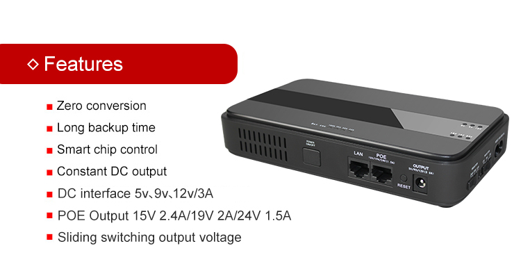 45W Mini Portable UPS with 151924VDC POE (Power Over Ethernet) & 5912VDC Interface Wide 85~265VAC Voltage Adapter Built-in_5