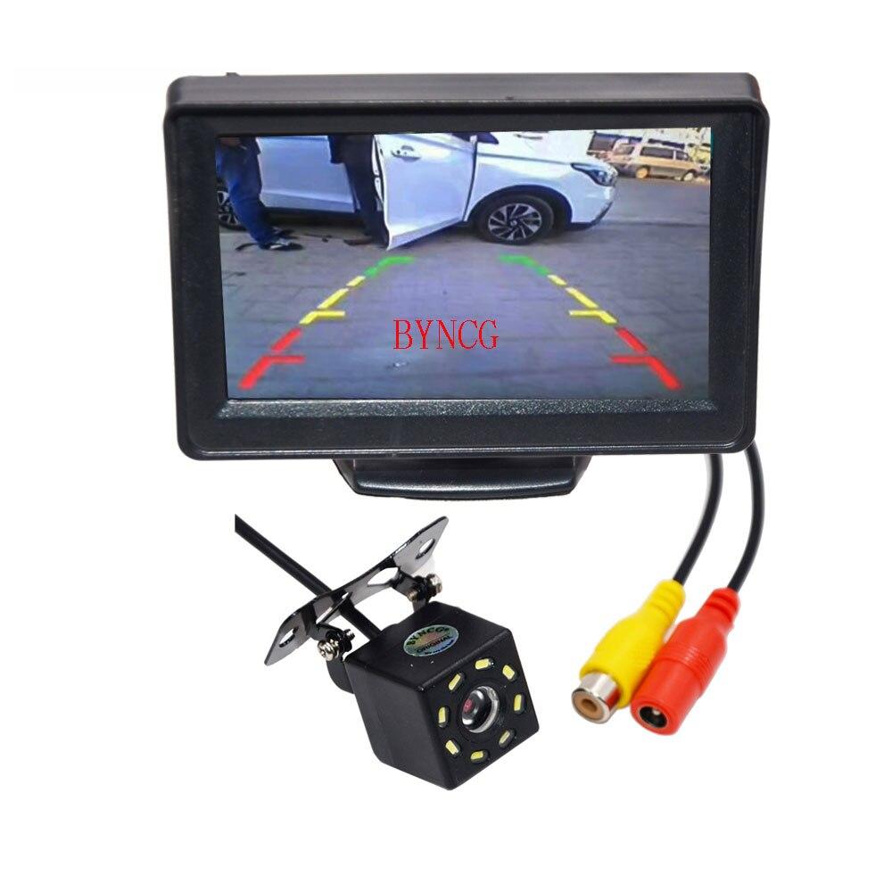 """Автомобильная камера заднего вида с широким углом обзора 4,"""" TFT lcd цветной дисплей монитор+ Водонепроницаемый ночное видение реверсивное Резервное копирование 2в1 парковка Reve - Название цвета: 4.3 monitor camera"""