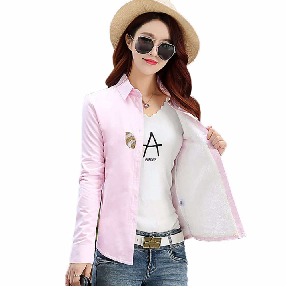 Winter warm shirts women 39 s shirt female long sleeve tops for Thick white shirt womens