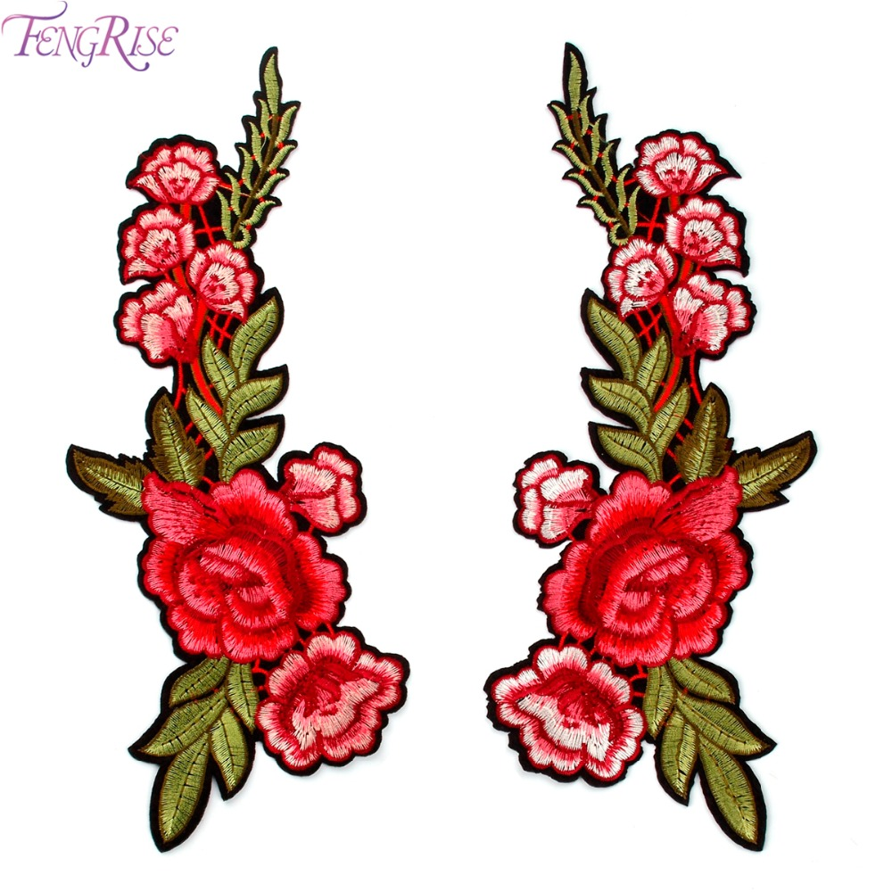 Fengrise red rose embroidered sewing on patch flower iron