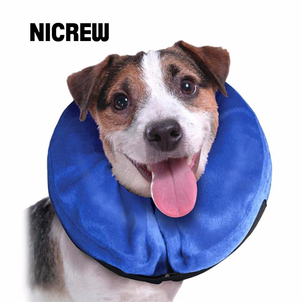 Nicrew Inflatable Pet Collar Health Dog Cat Vet Approved Elizabethan Wound Healing E-Collar Protection Medical Cone Collar S-L