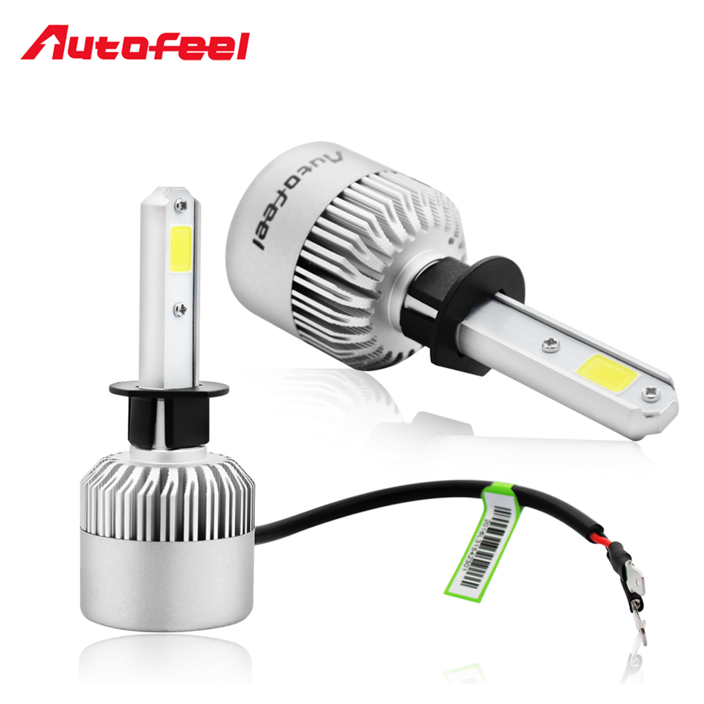 Autofeel h1 led car headlight auto bulbs 72w 8000lm 6000k for Led autolampen