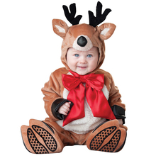 Kids Performance Clothes Dinosaur Elk Lion Animal model Christmas festival Girls Boy Baby Clothing Winter Warm Cotton Fur romper