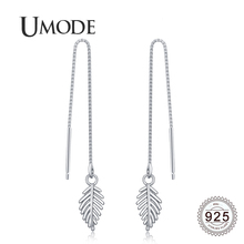 UMODE 2019 New 925 Sterling Silver Box Chain Hollow Leaf Drop Earring for Women White Gold Jewelry Boucle D'oreille 2019 ALE0633 цена
