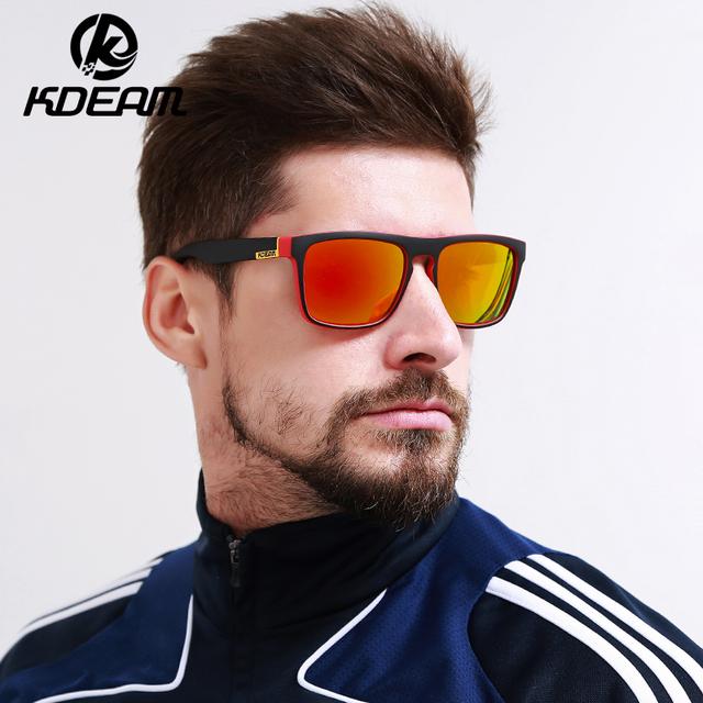 Highly Recommended KDEAM Mirror Polarized Sunglasses Men Square Sport Sun Glasses Women UV gafas de sol With Peanut Case KD156