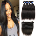 Brazilian Virgin Hair Straight With lace frontal Closure 13x4 ear to ear HC virgin Hair Products With full Closure 3 Bundles