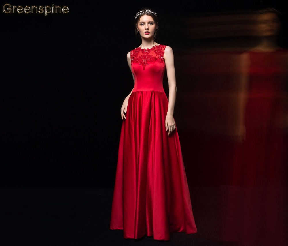 Greenspine Red Satin Evening Party Long Dresses 2019 Vestido Noche Lace Appliqued Beading Prom Dress Formal Gowns Floor Length