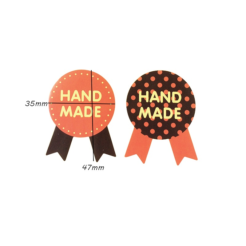 Купить с кэшбэком 80pcs/lot Medal 'THANK YOU HAND MADE' Three-color Sealing Stickers Decoration Cake Baking Package Label Stickers Scrapbooking