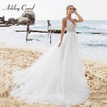 Ashley Carol Beach Wedding Dress V-neck Bride Dresses