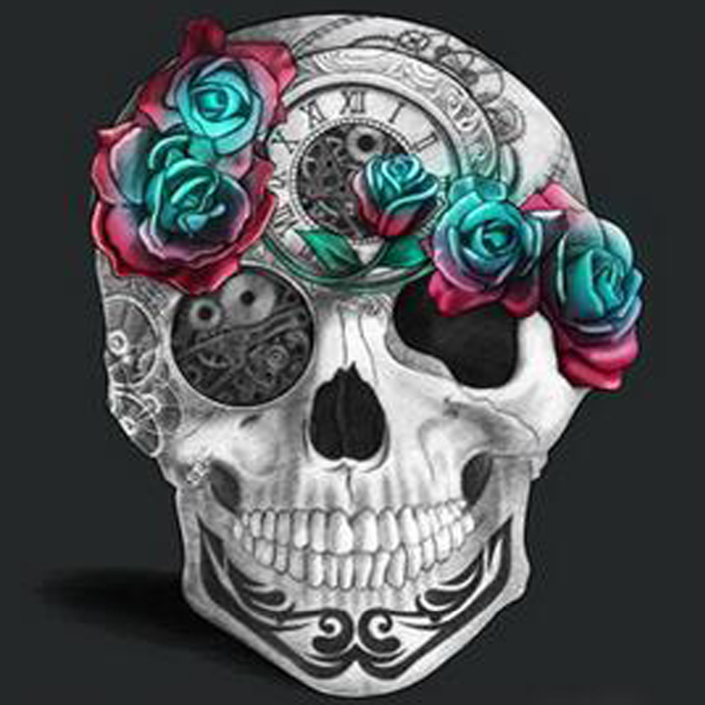 Diy Diamond Painting Diamond Skull Head Rose 5D Cross ...