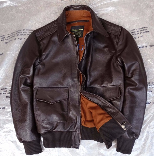 edc3d8981 US $271.41  2018 men's genuine natural real cow leather bomber coat a2  flight military suit air force jacket male brown black 2xl 3xl xxxl -in  Genuine ...