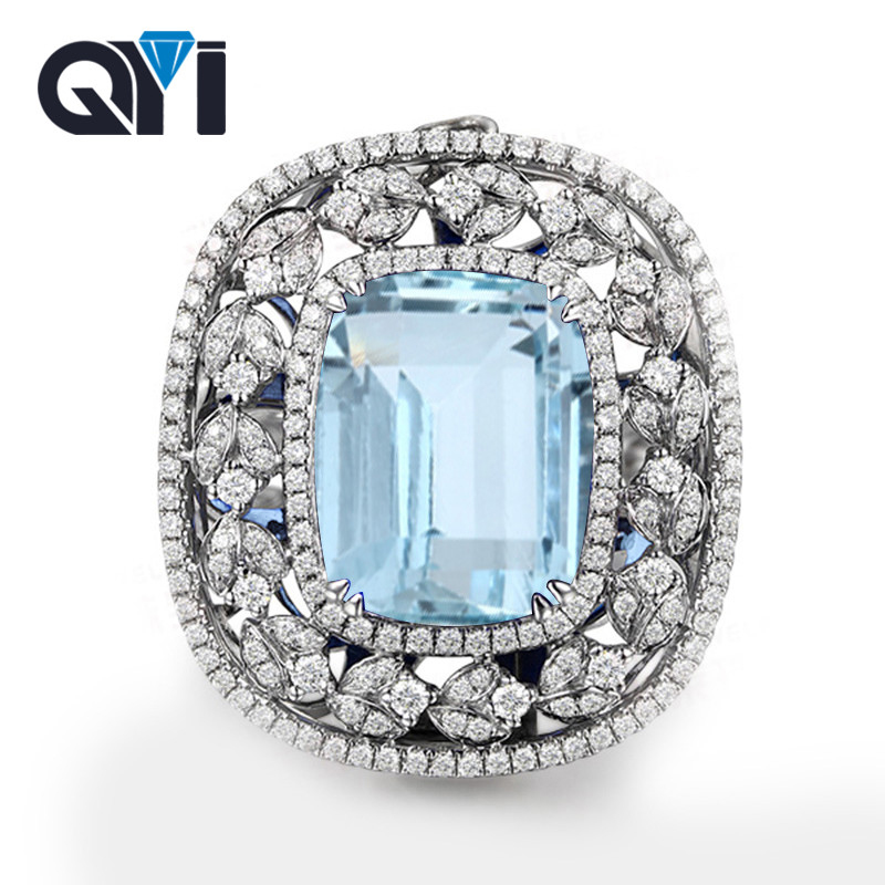 QYI 925 Sterling Silver Natural Sky Blue Topaz Rings 25 Ct Cushion Cut Engagement Wedding Ring For Women Gemstone Party Jewelry