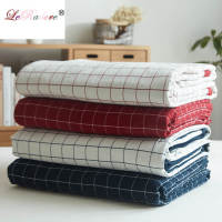 LeRadore Mechanical Wash Covered Comforter Japanese Style Plaid Printed Pure Cotton Summer Blanket Quilt Free Shipping