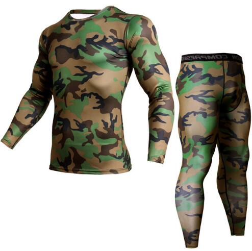 Men's Sportswear Fitness Men Compression Top Long Sleeve Camouflage Clothing Leggings Rash Guard Men MMA Sport Undershirt 3XL