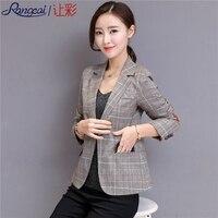 Work Plaid Autumn Women Slim Blazers Jacket Soft Femme Blazer Office Lady Brown Fashion Notched Plus Size Outerwear High Quality