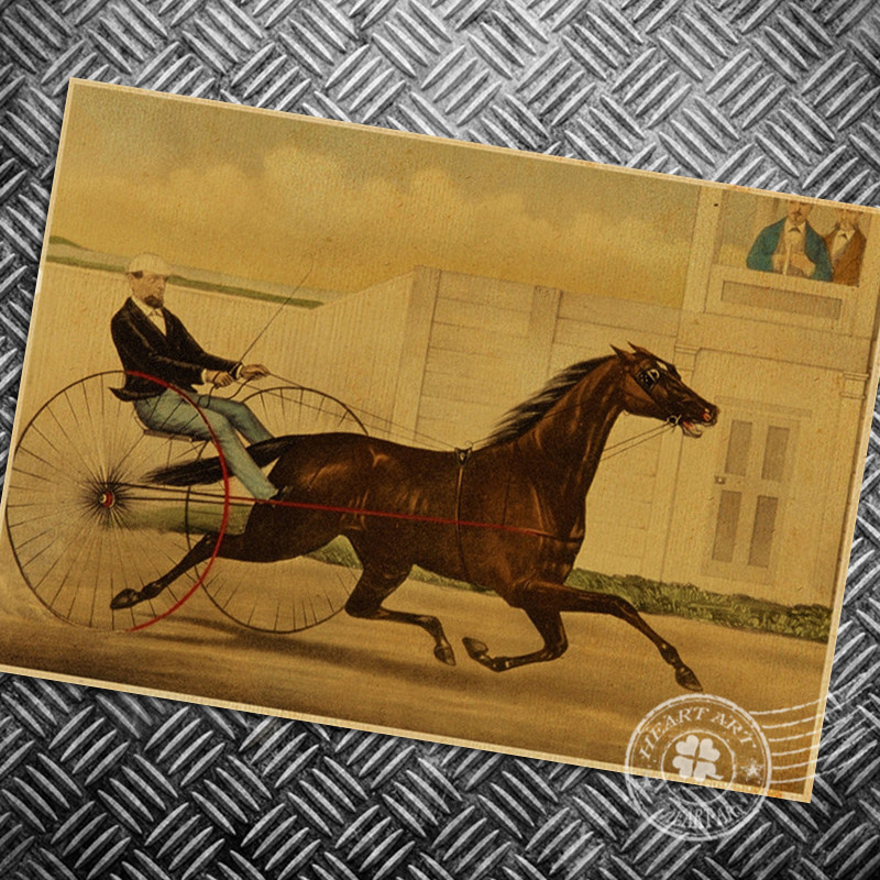 Horse carriage Vintage print poster Retro Bicycle bike Ride Wall art crafts sticker living room bedroom cafe bar picture 42x30cm