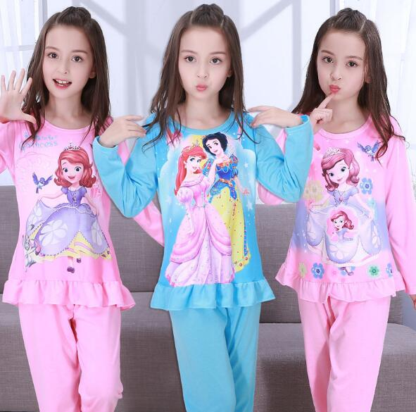 Sleepwear Girl Pajamas-Set Nightgown Kids Winter Children Cartoon Autumn Suit Factory-Wholesale