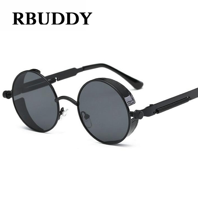 RBUDDY Gothic Steampunk sunglasses Men Round Circle Mirror Metal ...
