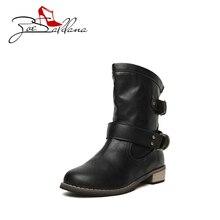 Zoe Saldana 2017 PU Leather Round Toe Buckle Vintage Female Ankle Woman Shoes Martain Boots