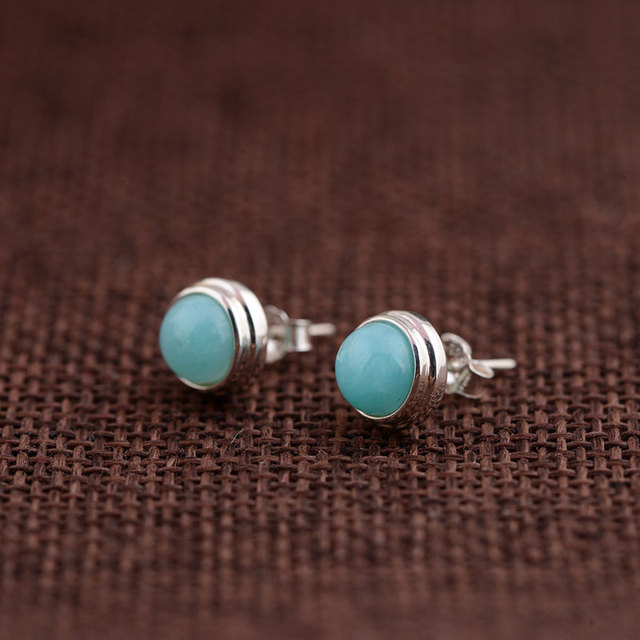 Natural Amazonite Stud Earring 925 Sterling Silver Earrings for Women Round earings S925 Silver boucle d'oreille