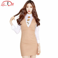 Full Sleeve Office Blouse Shirt V-Neck Bodycon Mini Vest Dress Sexy Two Pieces Women's Sets Pencil Work Vestidos Autumn 2017