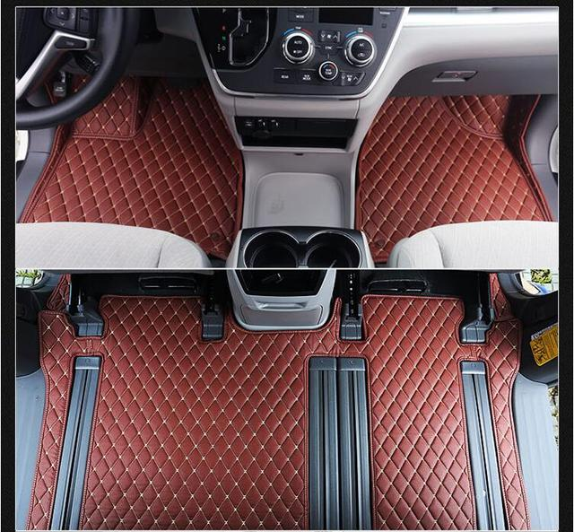 Luxury Slush Trunk Floor Mats Foot Pad Mat For Toyota Sienna 2017 2016 2018 6colors 7 8 Seats