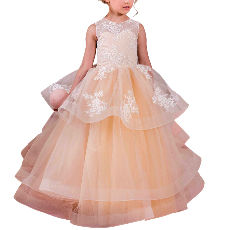 long lace flower girls dresses organza kids ball gowns tulle party dresses for girls 2-12 years champagne flower girl dress