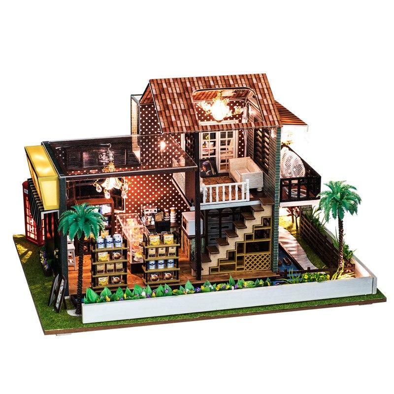 IIECREATE en bois bricolage maison de poupée jouet Miniature boîte Puzzle maison de poupée kit de bricolage meubles café magasin modèle cadeau jouet pour enfants