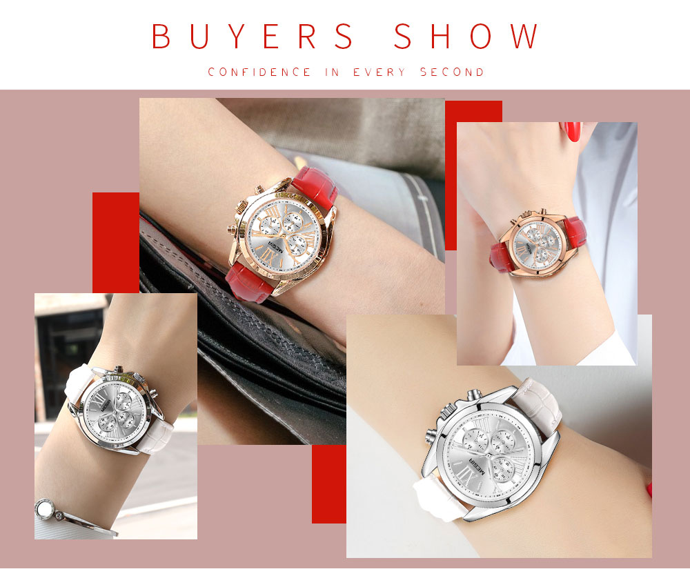 MEGIR2019 New Luxury Leather Watch Women Female Top Brand Chronograph Quartz Wristwatch Lady Relogios Femininos Clock 2114 White